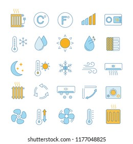 Air conditioning color icons set. Air heating, humidification, ionization, ventilation. Climate control. Isolated vector illustrations