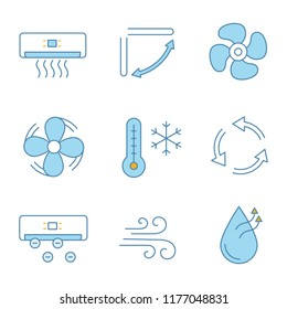 Air conditioning color icons set. Air conditioner, louvers, exhaust fan, ventilator, winter temperature, ventilation, ionizer, airflow, humidification. Isolated vector illustrations