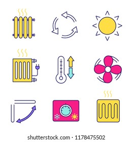 Air conditioning color icons set. Radiators, ventilation, sun, climate control, exhaust fan, conditioner louver, thermostat, heating element. Isolated vector illustrations