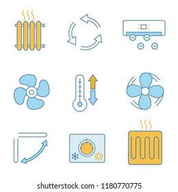 Air conditioning color icons set. Radiator, ventilation, ionizer, exhaust fan, ventilator, climate control, louvers, thermostat, heating element. Isolated vector illustrations