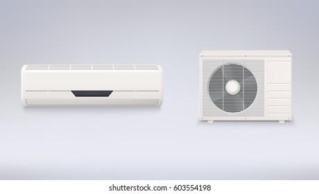Air conditioning, electronic appliance to clean, freshen and circulate air white color indoor and outdoor units. 3D icons on a white background