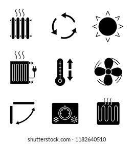 Air conditioning glyph icons set. Radiators, ventilation, sun, climate control, exhaust fan, conditioner louver, thermostat, heating element. Silhouette symbols. Vector isolated illustration