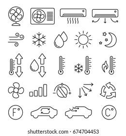 Air conditioning icon: thin monochrome icon set, black and white kit