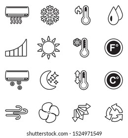 Air Conditioning Icons. Line With Fill Design. Vector Illustration.