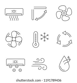Air conditioning linear icons set. Air conditioner, louvers, exhaust fan, ventilator, winter, ventilation, ionizer, airflow, humidification. Isolated vector outline illustrations. Editable stroke