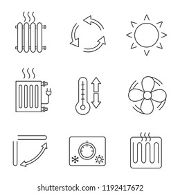 Air conditioning linear icons set. Radiators, ventilation, sun, climate control, exhaust fan, conditioner louver, thermostat, thermometer. Isolated vector outline illustrations. Editable stroke