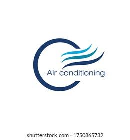 Air conditioning logo, ventilation system symbol