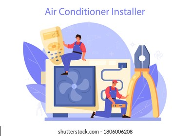 Air conditioning repair and instalation service. Repairman installing, examining and repairing conditioner with special tools and equipment. Isolated vector illustration