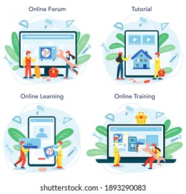Air conditioning repair and mounting service online service or platform set. Repairman installing, examining and repairing conditioner. Online forum, tutorial, learning, training. Vector illustration