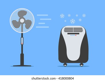 Air conditioning vector, Fan vector, Floor air conditioners like a penguin, conditioner