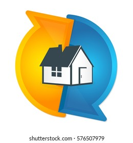 Air conditioning and ventilation of houses symbol vector