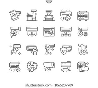 Air Conditioning Well-crafted Pixel Perfect Vector Thin Line Icons 30 2x Grid for Web Graphics and Apps. Simple Minimal Pictogram