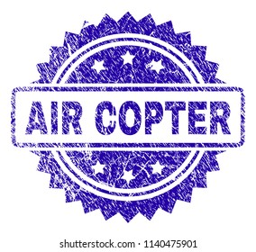 AIR COPTER stamp imprint with corroded style. Blue vector rubber seal print of AIR COPTER tag with corroded texture.