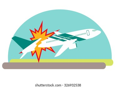 Air crash. Airplane exploded on impact with the ground. Vector illustration