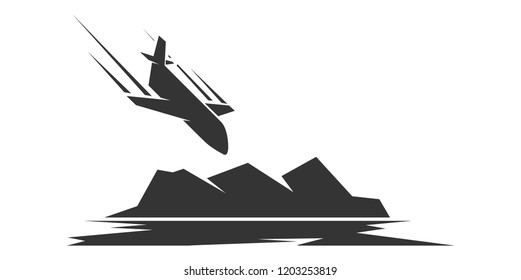 Air crash. The plane falls in the mountains