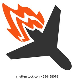 Air Crash vector icon. Style is flat symbol, rounded angles, white background.