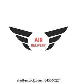 air delivery logo with black wings. concept of courier, shipment, email, visual identity, airline, ecommerce. isolated on white background. flat style trend modern wing logo design vector illustration