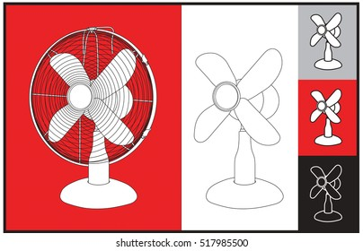 Air desk fan for the office or home in vector and outline graphics