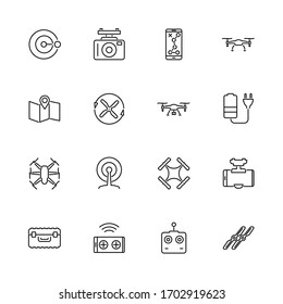 Air Drone, Quadcopter outline icons set - Black symbol on white background. Air Drone, Quadcopter Simple Illustration Symbol - lined simplicity Sign. Flat Vector thin line Icon - editable stroke