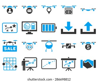 Air drone and quadcopter tool icons. Icon set style: flat vector bicolor images, blue and gray symbols, isolated on a white background.