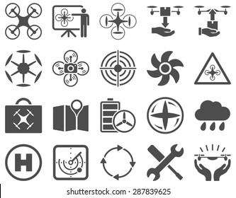 Air drone and quadcopter tool icons. Icon set style: flat vector images, gray symbols, isolated on a white background.