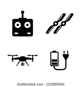 Air Drone, Quadrocopter. Simple Related Vector Icons Set for Video, Mobile Apps, Web Sites, Print Projects and Your Design. Air Drone, Quadrocopter icon Black Flat Illustration on White Background.