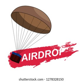 Air Drop PUBG, from the game PlayerUnknown's Battlegrounds. Vector illustration of the logo and the inscription Airdrop. Battle royal concept. PUBG