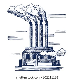 Air Ecology and the problem of air pollution. harmful gas emissions by industry. Vector illustration sketch. Doodle style.