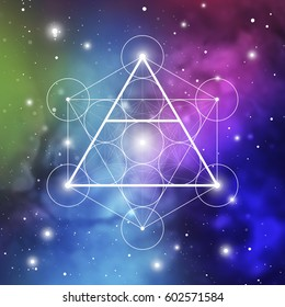 Air element symbol inside Metatron Cube and Flower of Life in front of space background. Sacred geometry futuristic vector design.