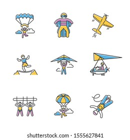 Air extreme sports color icons set. Skydiving, parachuting, hang gliding, wingsuiting. Aerobatics, highlining, paragliding. Giant swing, bungee jumping, sky microlighting. Isolated vector illustration
