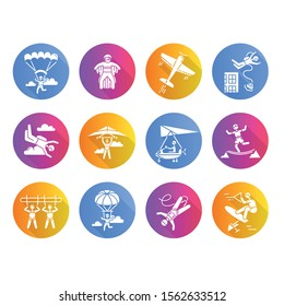 Air extreme sports flat design long shadow glyph icons set. Skydiving, parachuting, wingsuiting. Outdoor activities. Paragliding, aerobatics and bungee jumping. Adrenaline entertainment. Vector