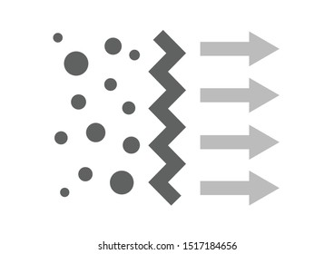 air filter with bacteria and dust vector icon