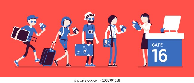 Air flight check queue. Airport check-in passengers standing in line before travel, airline agent checking ticket documents at gate. Vector illustration with faceless characters