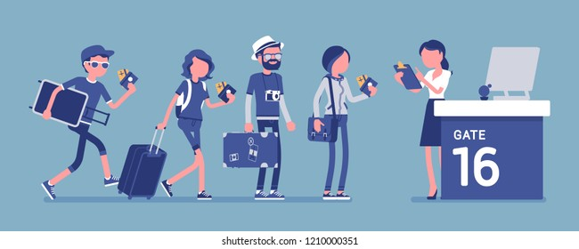 Air flight check queue. Airport check-in passengers standing in a long line before travel, female airline agent checking ticket documents at gate, registering. Vector illustration, faceless characters