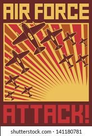 Air force attack poster (old planes design, World war II illustration)
