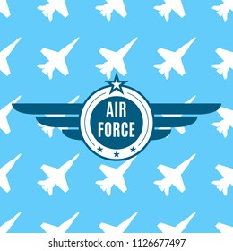 Air force badge with wings and star. Army and military emblem. Airforce logo isolated on blue background with planes. Vector illustration.