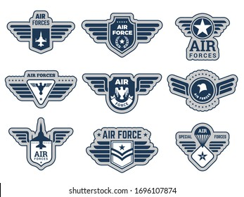 Air force labels. Vintage army badges military symbols eagle wings and weapons vector illustrations set
