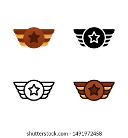 Air Force Logo icon in four style glyph, line, flat and filled line