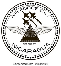 Air Force symbol of Nicaragua on February 1. Vector illustration.