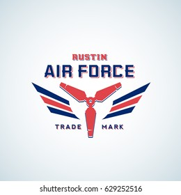 Air Force Vector Retro Label, Sign or Logo Template. Aeroplane Air Screw with Wings in Red and Blue Colors. Isolated.