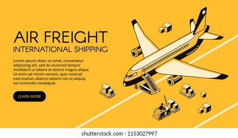Air freight logistics vector illustration of airplane and parcels on forklift truck or loader pallet from warehouse. Delivery shipping transport isometric black thin line on yellow halftone background