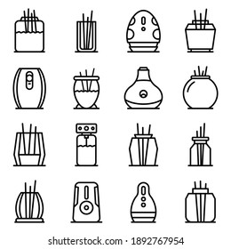 Air freshener icons set. Outline set of air freshener vector icons for web design isolated on white background