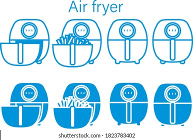 Air fryer flat Icon Isolated on White Background.illustration icon.vector .French fries