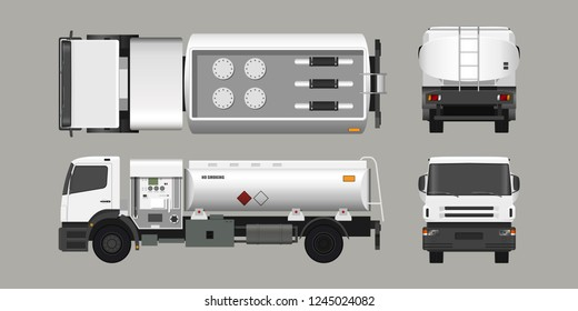 Air fuel truck. Front, side, top and back view. Maintenance of aircraft. Airfield transport. Tanker for airplane. Industrial 3d realistic blueprint. Vector isolated  illustration.