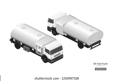 Air fuel truck in isometric style. Maintenance of aircraft. Airfield transport. Tanker for airplane. Industrial 3d realistic drawing Vector isolated  illustration.