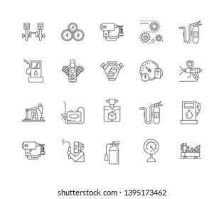 Air and gas compressors line icons, signs, vector set, outline illustration concept