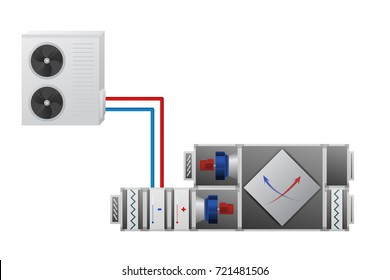 Air handler with heating, cooling unit, recuperator and conditioner vector illustration. Technical image.