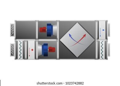 Air handler with recuperator vector illustration. HVAC industry.