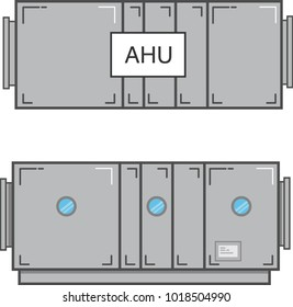 Air Handling Unit Plan View and Section View Flat Vector Illustration Isolated on White Background