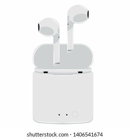 air Headphones in Box icon. holder Wireless in case white Earphones garniture electronic gadget vector illustration